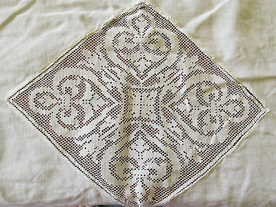 Antique White Linen Tablecloth Lace Panel Heart Insert Medallions As Is 48x51