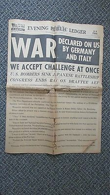 """RARE WW2 12/11/1941 US  Newspaper"""" WAR Declared on US by GERMANY and ITALY"""" !"""