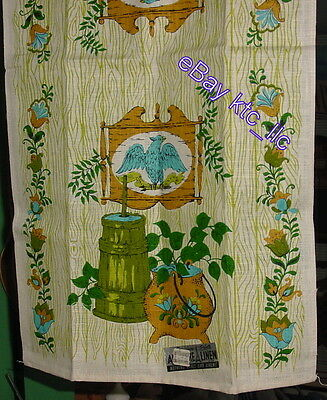 EST. unused PARISIAN PRINTS grn EAGLE Butterchurn Linen KITCHEN Towel USA fr shp