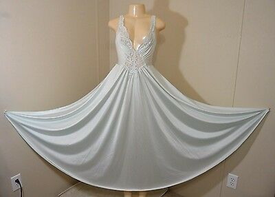 """Vintage Olga 184"""" Sweep Silky Lacey Nylon Nightgown-Size L-Bust 38"""" To 46"""""""