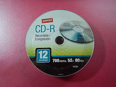 12 Staples CD-R Recordable CD Disks 700MB 52x 80 Minutes 14758 Brand New Sealed
