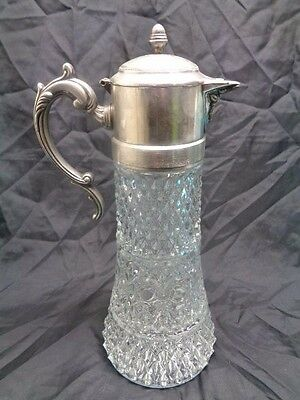 Vintage Crystal Glass Wine Lidded Tall Decanter With Worn Silver Lid