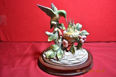 Andrea by Sadek Porcelain Ruby -Throated Hummingbird with Babies Sculpture
