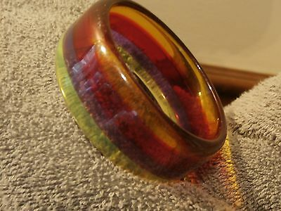 Vintage Plastic Lucite Rainbow Stripe Jelly Bangle Bracelet Translucent Rare
