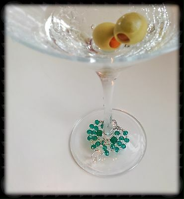 Gemstone Wine Glass Charm..Your Best Party Accessory. .925 Sterling. �� Magnetic
