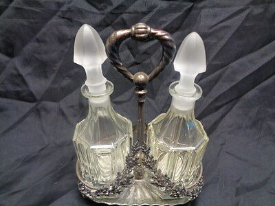 Glass Oil & Vinegar Cruets With Stoppers & Worn Ornate Silver Metal Tray