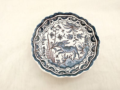 Coimbra PORTUGAL small plate, blue + white sec XVII hand-painted pottery