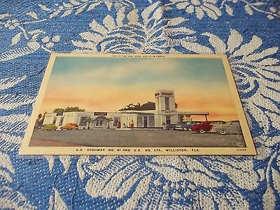 postcard, Top of The Hill Grill and Club Festa and service station, Florida