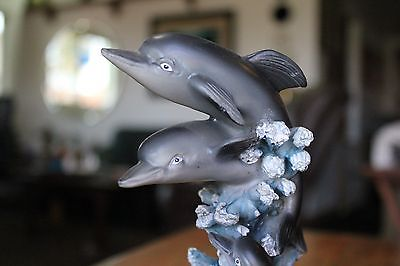 JUMPING DOLPHIN FAMILY FIGURE RIDING WAVES Handpainted Resin on Wood Base Statue