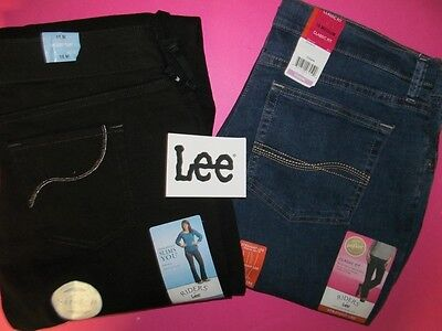 NEW Lee Instantly Slimming LOT Jeans Women's Size 18 Tummy Control Black Denim