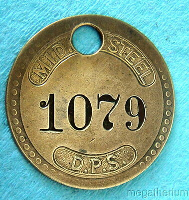 Vintage Tool Check Brass Tag: MID STEEL Division Detroit Pressed Steel Co