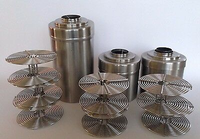 LOT 3 Nikor STAINLESS STEEL PHOTO FILM DEVELOPING TANKS w 7 SPIRALS / REELS