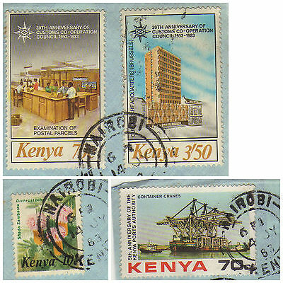 stamps KENYA 4 assorted stamps on paper
