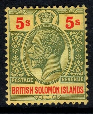 BRITISH SOLOMON ISLANDS-1914 5/- Green & Red Yellow-SG36-Lightly mounted mint