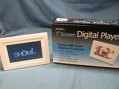 """Shomi 7"""" Screen Digital Player Photo Frame Pictures- White"""
