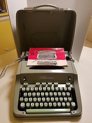 Vintage Switzerland Green Hermes 3000 Typewriter With Case And Manual.