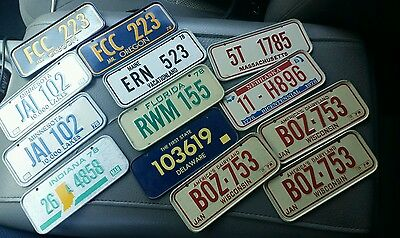 Vintage Small/Mini states license plates lot of 13