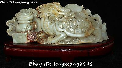 "13"" Rare China Old Jade Carving Wealth Money Coin Yuanbao Dragon Tortoise Statue"