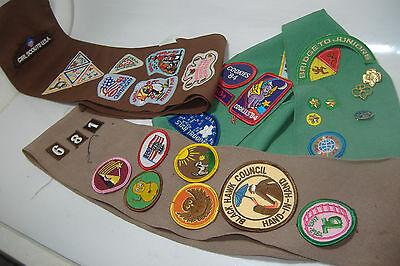 3 Girl Scout Sashes w/Patches & Pins