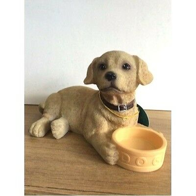 Golden Labrador pup with Bowl Dog Ornament figurine by Leonardo Collection