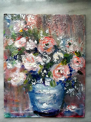 FLOWERS IN VASE modern impressionism oil painting original signed Gail Grant art
