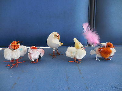 Vintage Easter Chick Group Dresden Egg Hatching Chenille Spun Cotton Party Hat +