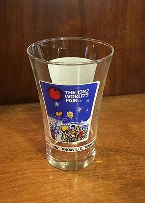 """Vintage 1982 McDonalds Coca-Cola Worlds Fair Glass Tumbler Knoxville 5 1/2"""" Tall"""