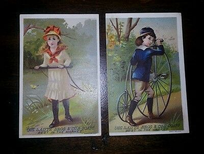 Lot of two Trade Cards, Advertising: Lautz Bros. SOAPS High wheel Bicycle