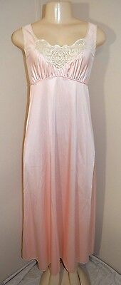 """Vintage J.c. Penney Silky Lacey Nylon Long Nightgown-Size S-Bust 36"""""""