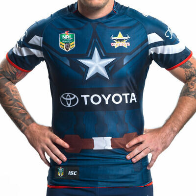 North Queensland Cowboys 2017 Captain America Marvel Jersey Adults Ladies Kids