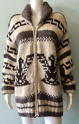 Cowichan Wool Handknit Indian Sweater Coat Eagle Jacket~M