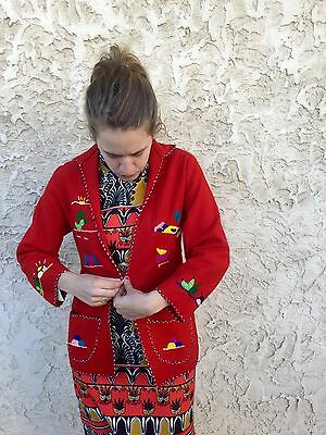 ✰RARE!  VINTAGE 1950's MEXICAN Tourist EMBROIDERED Wool FELT Coat JACKET Small
