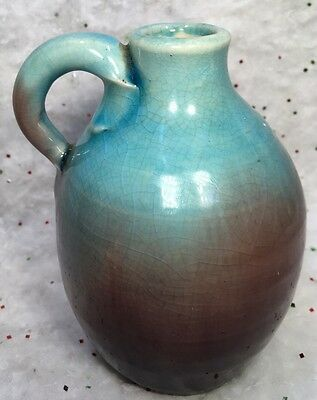 """PISGAH FOREST Pottery 5 1/ """" Teal blue Seeping into Eggplant Purple Jug handle"""