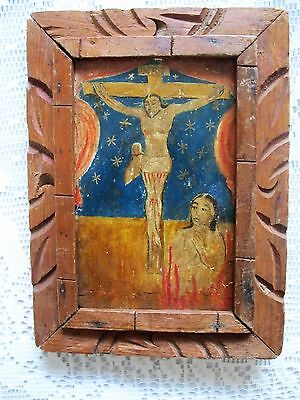 Original Antique Retablo On Wood Image Of Christ On The Cross And Lonely Soul