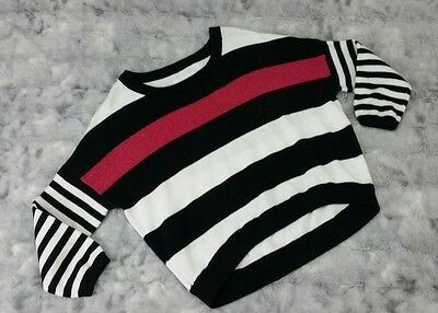 Justice Girls Size 14 Pink Black White Striped Sparkle Sweater 100% Cotton