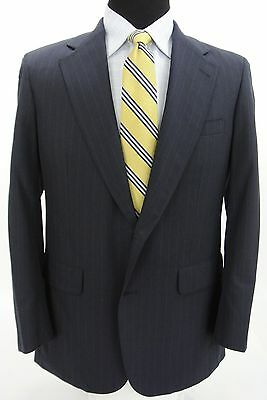 Brooks Brothers 2 Btn Suit Jacket Pants Navy Blue Gray Pinstripe Wool 40 R x 32W