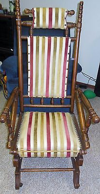 Ant. Victorian Eastlake Carved WALNUT PLATFORM GLIDER Rocker Rocking Chair