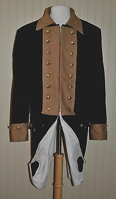 Revolutionary War Continental Army Frock Blue w/Tan Collar - Even Sizes 32-50