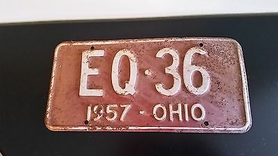 Vintage 1957 Ohio License Plate Red And White Eq36
