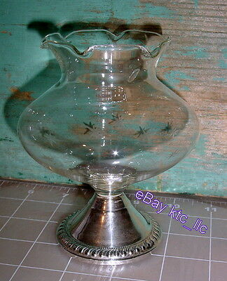vintage DUCHIN CREATIONS Sterling Silver & Etched Crystal Bulbous Vase FREE SHIP