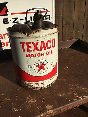 Vintage Used Texaco 5 gal Oil Can - 1960's