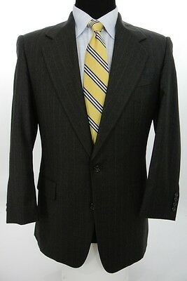Hickey Freeman 2 Btn Suit Charcoal Gray Pinstripe Wool 38 S x 30 W