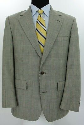 Brooks Brothers 2 Btn Suit Jacket Pants Wool Gray Glen Plaid Check 40 R x 34 W