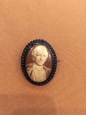 Antique Victorian Mourning Pin Photo Of A Man 1.25""