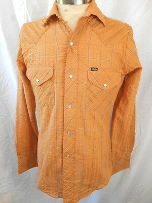 Vintage 1970s Tangerine Plaid Poly/Cotton Miller Western Shirt Pearl Snaps S