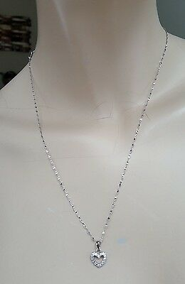 18k Solid White Gold  Necklace, Heart Pendant and Earrings Set With Zircons