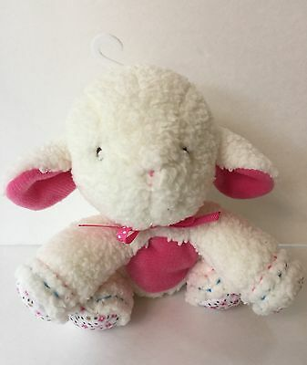 Carters Baby Cream Pink Lamb Flower Plush Rattle