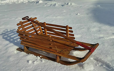 GREAT VINTAGE Wooden CHILD BABY SNOW SLED w /HANDLE + REMOVABLE SIDES PATINA!