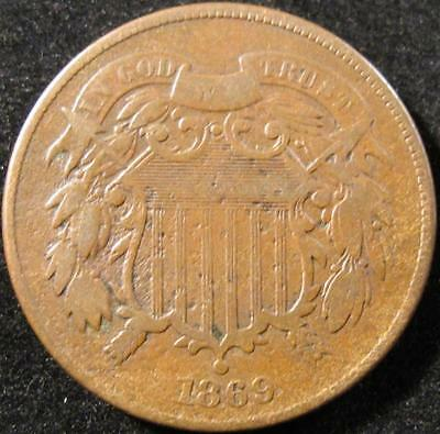 P870 - 1869 - Us - Two Cent Coin - Nr