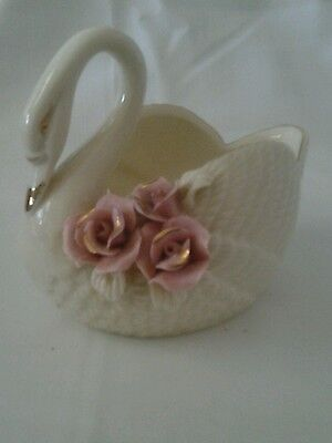 Vintage Porcelain  off-white  figurine with cluster of pink roses and gold trim